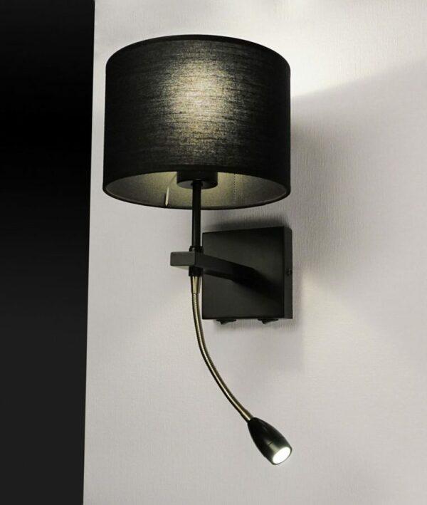 Quad wandlamp staal 2- lichts WB 81009 ZW + K20/13 ZW staal zwarte kap 13 cm