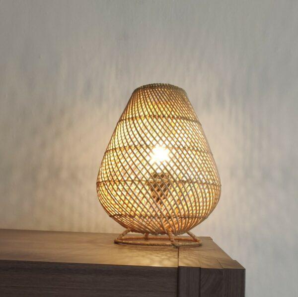 Tafellamp Druppel riet naturel 30cm 511025